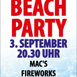 BEACHPARTY  AM  SAMSTAG, 3. September 2016